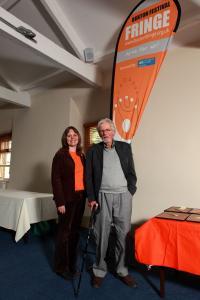 Fringe chair Stephanie Billen with Fringe founder Malcolm Fraser