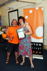 Helen Mint collects Visual Arts Event Award for the Buxton Art Trail