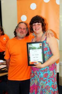 Helen Mint collects her Artist Newcomer Award