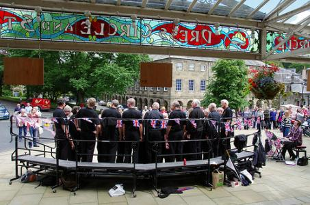 Tideswell Male Voice Choir outside the Opera House