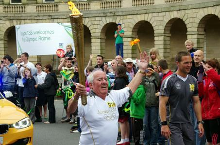 Bill Weston - triumphant with the torch!