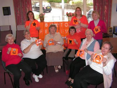 Hartington Court residents with their orange panels
