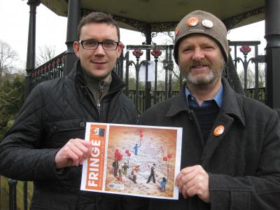 Designer Tom Mason (left) with Buxton Fringe Chair Keith Savage by the Pavilion Gardens Bandstand, Buxton.