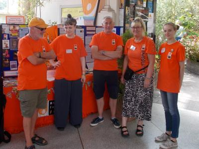 Volunteers and staff at The Fringe Information Desk prepare for a busy Carnival Day (credit: Sam Slide 2018)