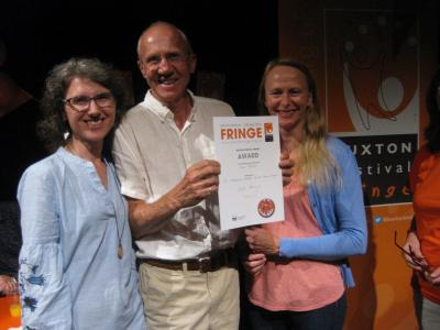 Shakespeare Jukebox: from left to right Maria Carnegie, Dick Silson and Jayne Marling with their Street Theatre Award (credit: Dan Osborne 2018)