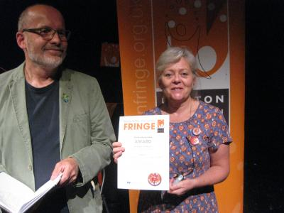 Caroline Small from the Green Man Gallery picks up a Female Actor award on behalf of Green Knight's Debbie Cannon (DO)