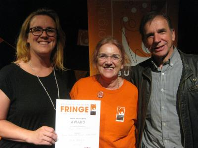 Buxton Studio Choir representatives, from left to right: Ruth Bowring, Linda Rolland and Fred Rolland, with their Vocal Performance award (credit: Dan Osborne 2018)