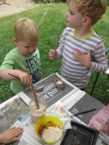 Painting rocks at Fringe Sunday (SB)