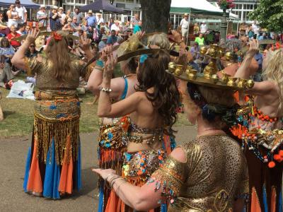 The Belly Dance Flames entertain crowds at Fringe Sunday (credit: Keith Savage 2018)