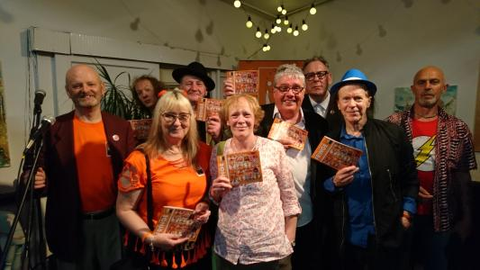 Fringe chair Keith Savage (left) joins performers and Fringe committee members to celebrate the publication of the 2018 programme (credit: Dan Osborne 2018)