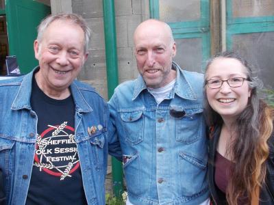 Sam with musician Mark Gwynne Jones and Spoken Word artist Debbie Cannon outside The Green Man Gallery (SS 2019)