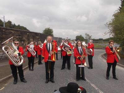 Sam with Burbage Band Trombone section on Carnival Day (SS 2019)