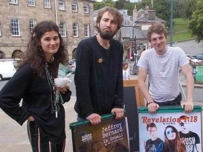 Zoe from Underground Venues and the Sudden Impulse team sad to be taking down their A boards (SS 2019)