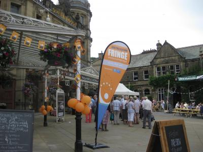 The lively opera house forecourt during the Fringe (credit: Stephanie Billen 2019)