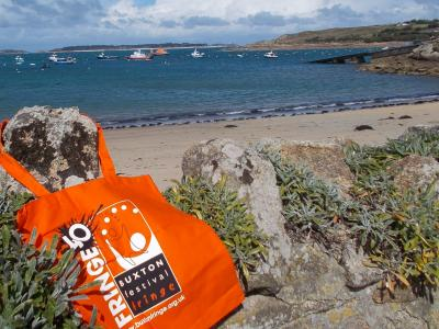 The Fringe bag went on various travels over the summer. Here it is at St Mary's on the Scilly Isles. For more of its adventures see our Instagram account @buxtonfringe (credit: Sam Slide 2019)