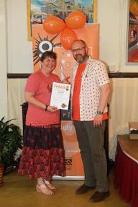 Anna Girolami receives New Writing Award at Fringe40 (credit Ian J. Parkes)