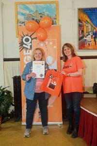 Linda Rolland picks up the Visual Arts award for Buxton Art Trail at Fringe40 (credit: Ian J. Parkes)