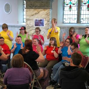 The Fairplay Signing Choir from Chesterfield performs at the Accessible Buxton Launch Event sponsored by Buxton Festival Fringe, Buxton Crescent Heritage Trust and Parkwood Leisure.