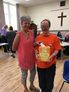 The Fringe teamed up with the Rossendale Trust to provide work experience for Barry Haynes who helped us with surveys (pictured here with Kaleidoscope Choir's Carol Bowns). Thanks Barry! (credit: Linda Rolland 2019)