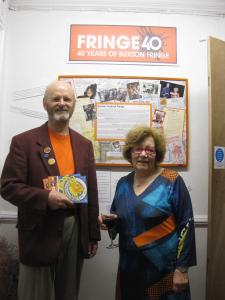 Fringe chair Keith Savage launches the Fringe40 archive exhibition with former chair from the 1980s, Barbara Langham.