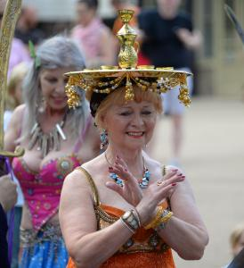 Perfect balance - the Belly Dance Flames at Fringe Sunday (credit: Dave Upcott 2019)