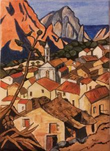 A Corsican town, acrylic on canvas (credit: Jane Barson)