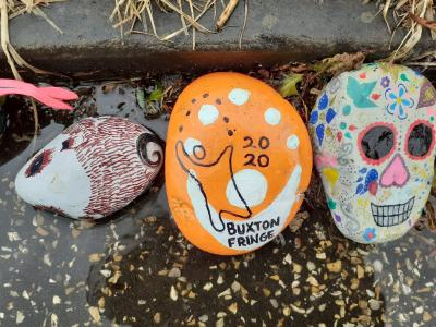 The Fringe joins in the Covid snake of decorated rocks on the Broad Walk at the Pavilion Gardens in 2020. (credit: Gaye Chorlton)