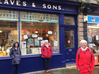 ACE artists stand outside their Break Your Stride exhibition at Hargreaves during Fringe 2020
