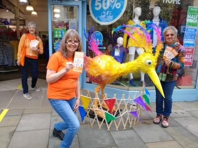 Marketing officer Stephanie Billen joins Viv Marriott (behind) and sculptor Andrea Lewis plus Floella the bird to launch Fringe 2020 (credit: Rob Harrison)