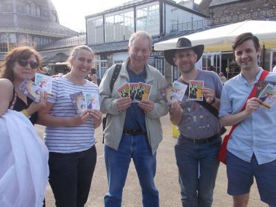 Fringe@5 flyering with The Dead Secrets - Jen, Ida, Phillip and Nathan with Sam Slide centre (SS 2019)