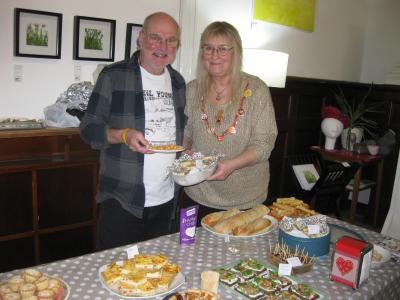 Fringe archivist Ian Hamilton with Fringe secretary Gaye Chorlton at our fab Christmas Party