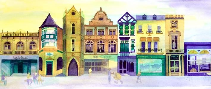 Buxton Shops Architecture painting by Pam Smart