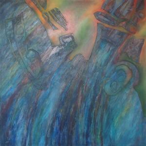 Assimilation. oil glaze on acrylic on canvas 100 x 100 cm. By L.Jannetta