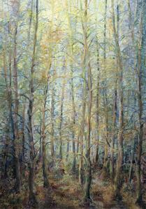 Wispering Woods. Oil on canvas and threads applied to canvas. 100 x 70 cm. By L.Jannetta