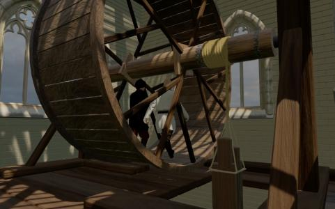 The Windlass, medieval hoist, used to haul up building materials.
